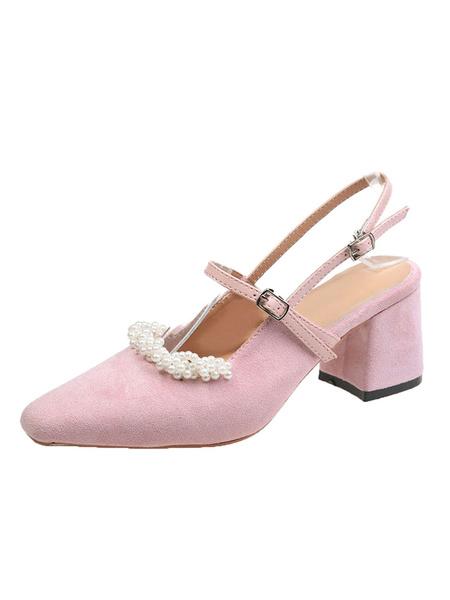 Milanoo Mid Heel Pumps Womens Almond Toe Pearls Slingback Block Heel Pumps