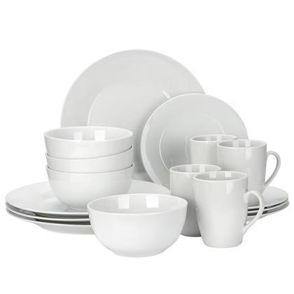 Service de vaisselle rond de 16 pièces, blanc grisâtre - LIVINGbasics™