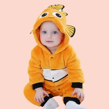 Baby Boy Cartoon Graphic 3D Patched Hooded Flannel Jumpsuit