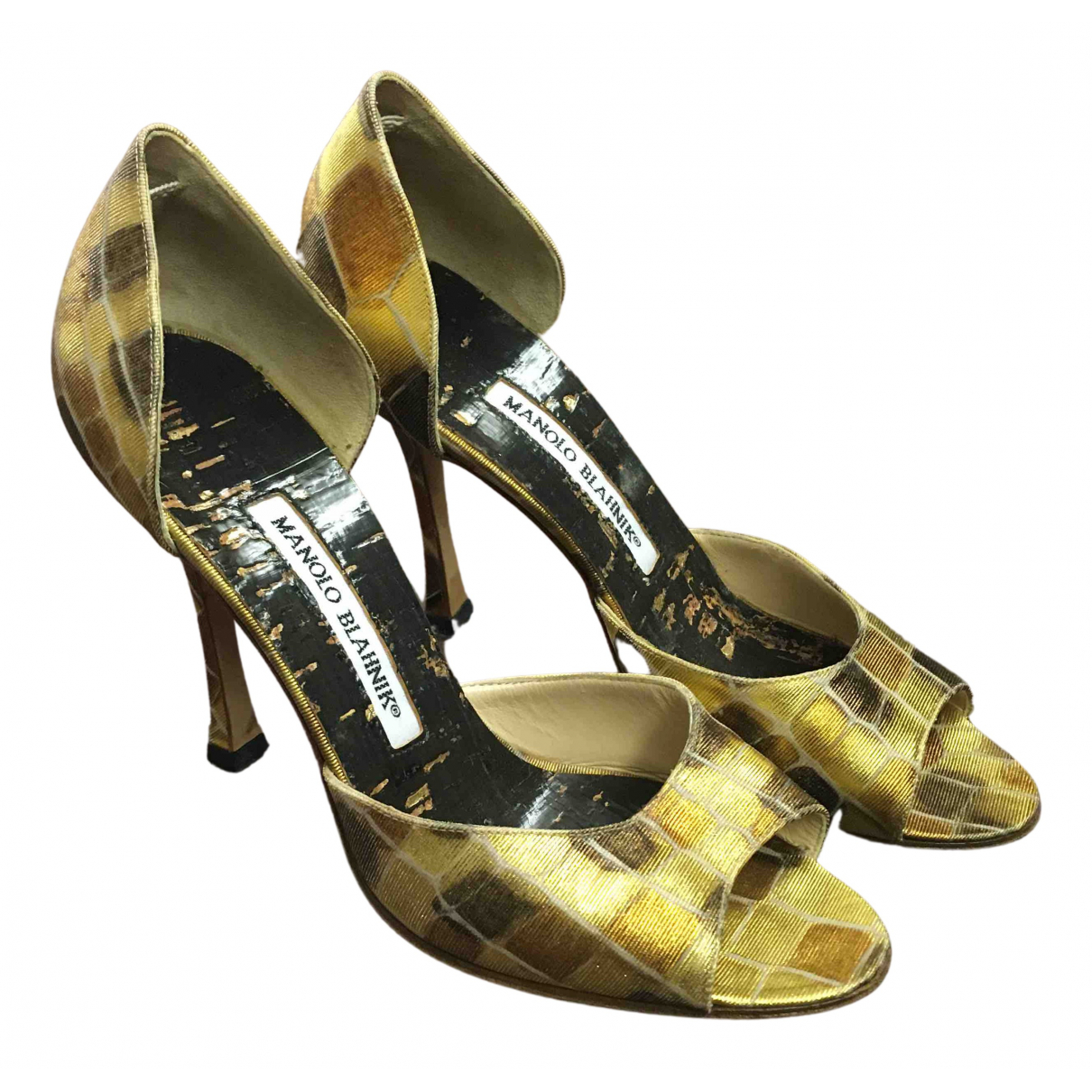 Manolo Blahnik N Gold Leather Heels for Women 36 EU