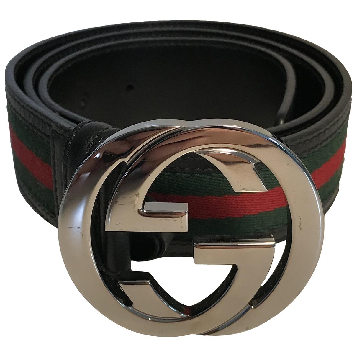 Gucci Interlocking Buckle Guertel in  Gruen Leinen
