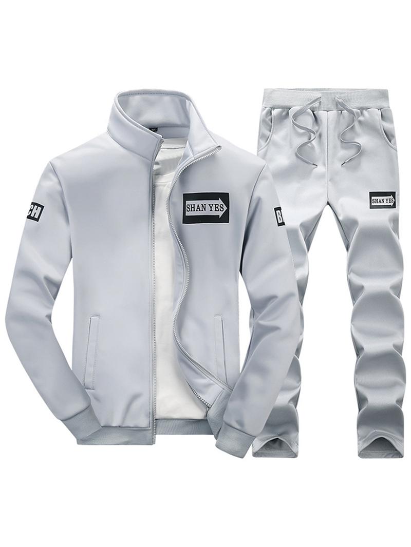 Ericdress Men's Letter Zipper Sports Suit Jacket Pants
