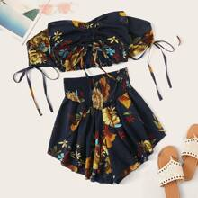 Floral Drawstring Ruched Top & Smocked Shorts Set