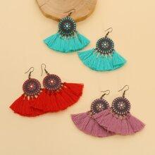 3pairs Tassel Drop Earrings