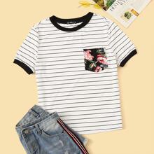 Ringer T-Shirt mit Blumen Muster, Taschen Flicken und Streifen