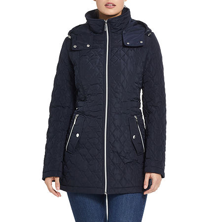 Miss Gallery Water Resistant Lightweight Quilted Jacket, Small , Blue