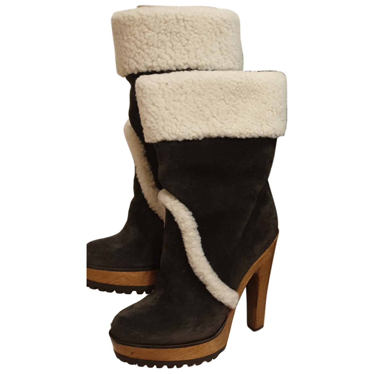 Dolce & Gabbana \N Stiefeletten in  Braun Veloursleder