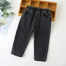 Toddler Boys Elastic Waist Tapered Jeans