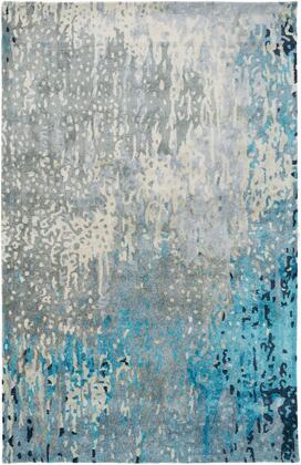 Serenade SRD-2004 6' x 9' Rectangle Modern Rug in Teal  Sage  Dark Blue  Navy