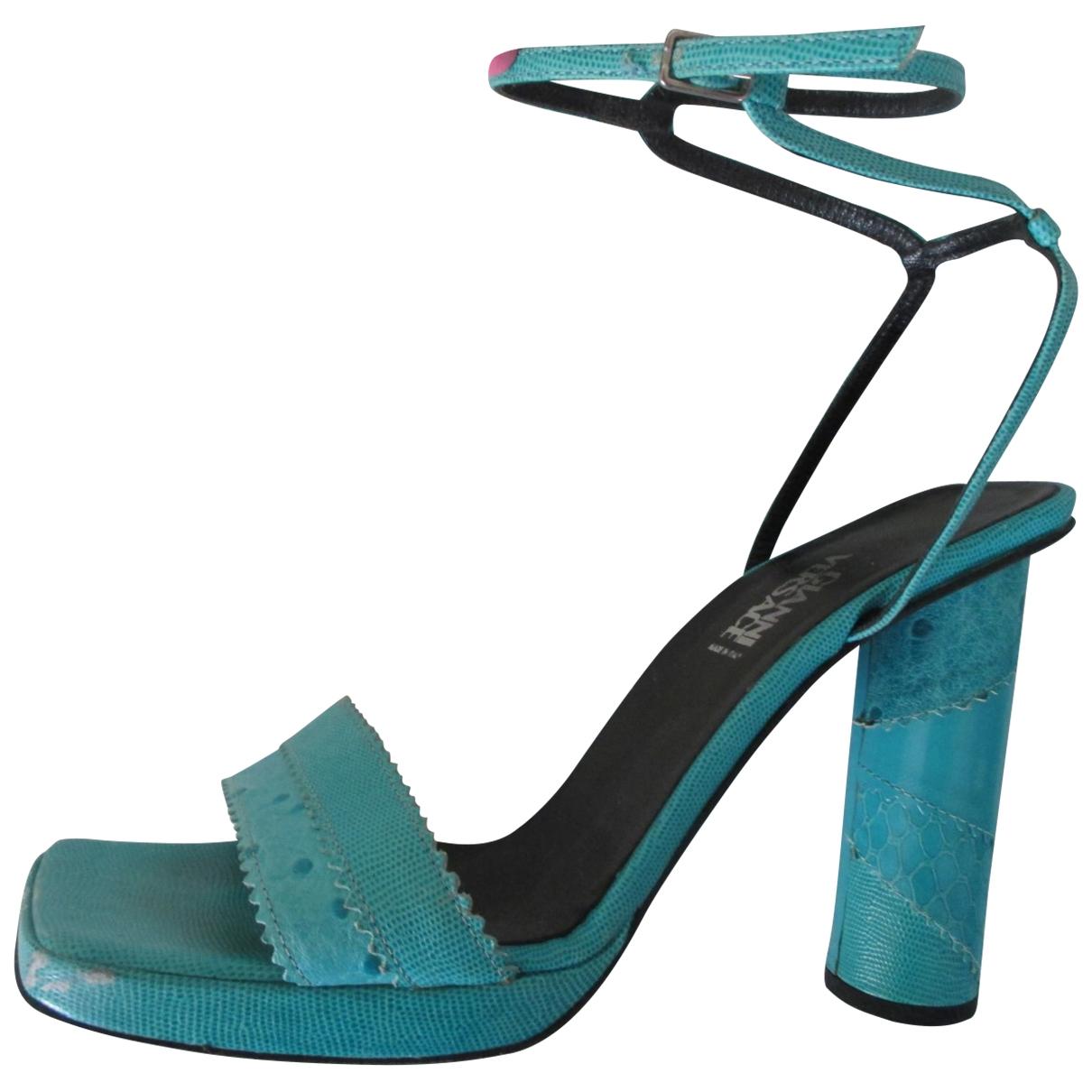 Gianni Versace - Sandales   pour femme en autruche - turquoise