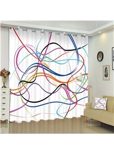 3D Colorful Smooth Lines Printed Creative and Non-mainstream Style 2 Panels Living Room Shading Curtain
