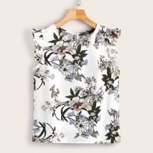 Top mit Schluesselloch hinten, Rueschen und Blumen Muster