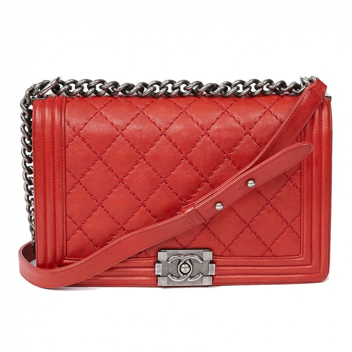 Chanel Boy Red Leather handbag for Women \N