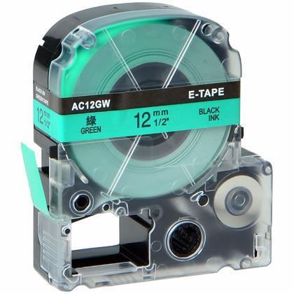 Epson LK-4GBP Compatible Labelworks Standard Lk Tape, 12mm(1/2''), Black on Green