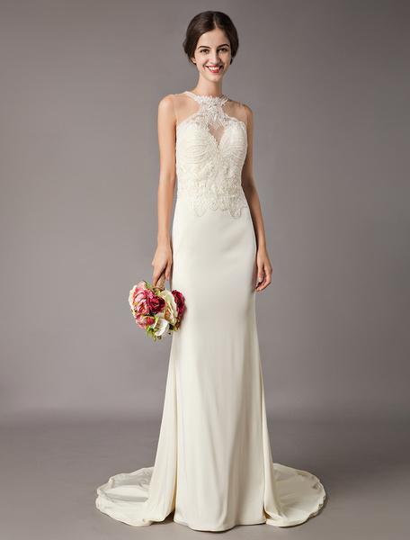 Milanoo Wedding Dresses Ivory Lace Sleeveless Illusion Sheath Column Bridal Gowns With Train