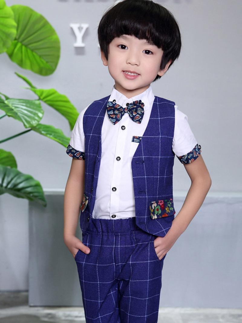 Ericdress Plaid Vest & Pants 2-Pcs Boys Suit