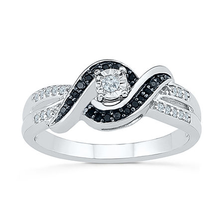 Promise My Love Womens 1/5 CT. T.W. Genuine Multi Color Diamond Sterling Silver Promise Ring, 9 , No Color Family