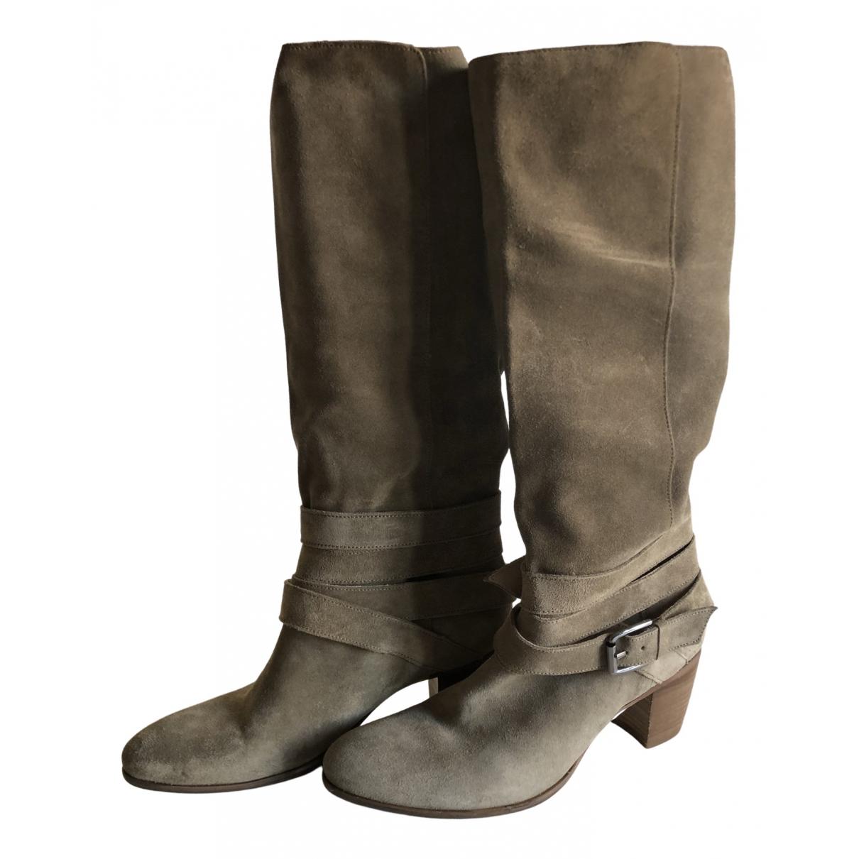 Minelli - Bottes   pour femme en cuir - beige