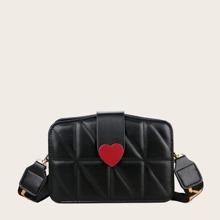 Heart Decor Stitch Detail Crossbody Bag