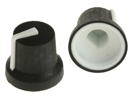 RS PRO Potentiometer Knob, Push-On Type, 16.8mm Knob Diameter, Black, D Shaped Shaft Type, 6mm Shaft (5)