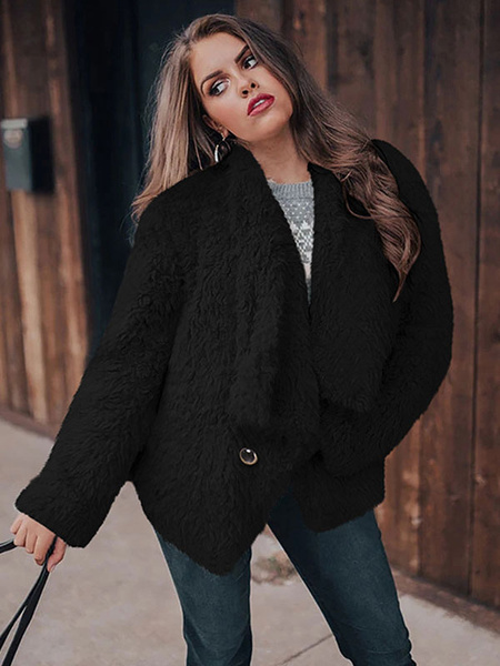 Milanoo Woman\'s Coat Faux Fur Long Sleeve Turndown Collar Buttons Casual Layered Black Woolen Coat