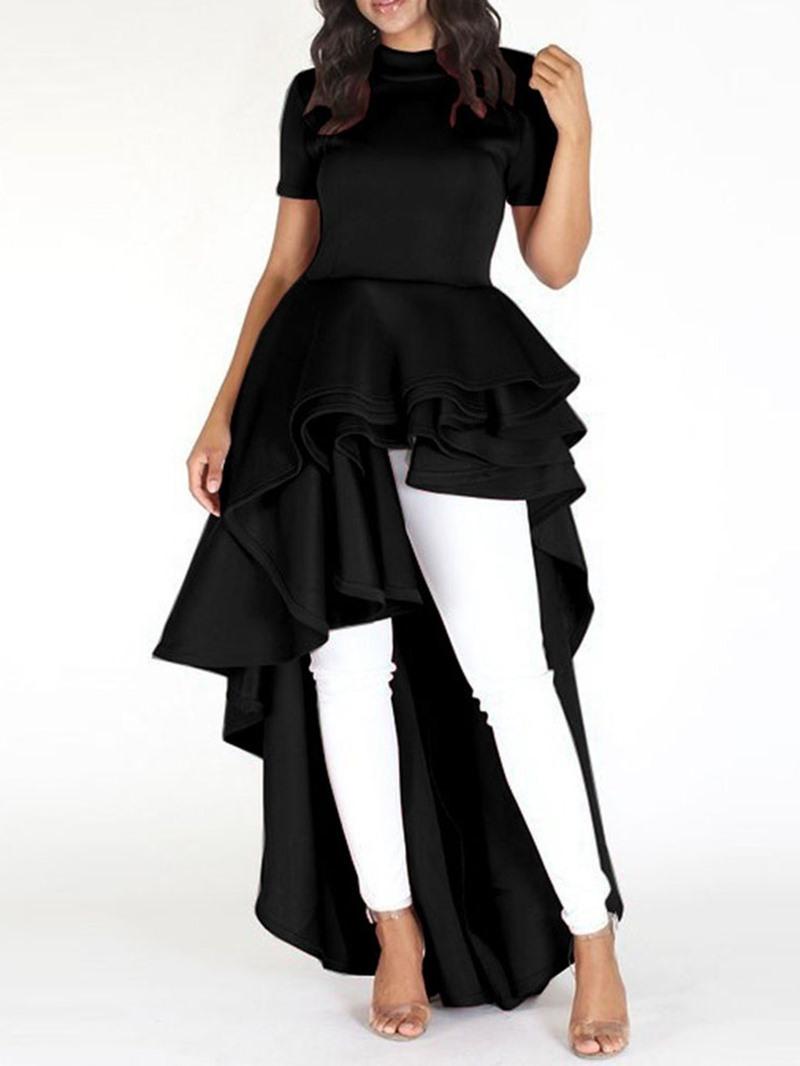 Ericdress Asymmetrical Ruffles Cocktail Short Sleeve Floor-Length Dress