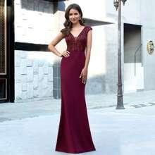 Mesh Insert Sequin Bodice Maxi Prom Dress