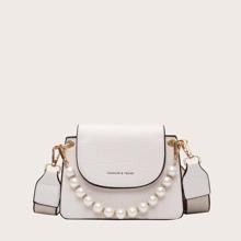 Bolsa cartera con diseño de cocodrilo con perla artificial