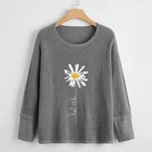 Pullover mit Blumen, Buchstaben Grafik und Raglanaermeln
