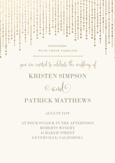 Wedding Invitations 5x7 Cards, Premium Cardstock 120lb with Scalloped Corners, Card & Stationery -Metallic Garland - Invitation