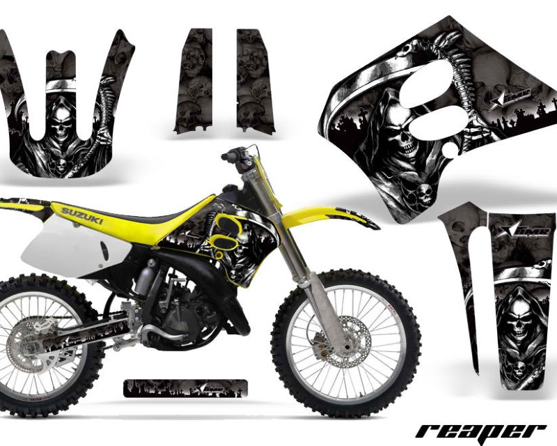 AMR Racing Dirt Bike Graphics Kit Decal Sticker Wrap For Suzuki RM125 1993-1995áREAPER BLACK