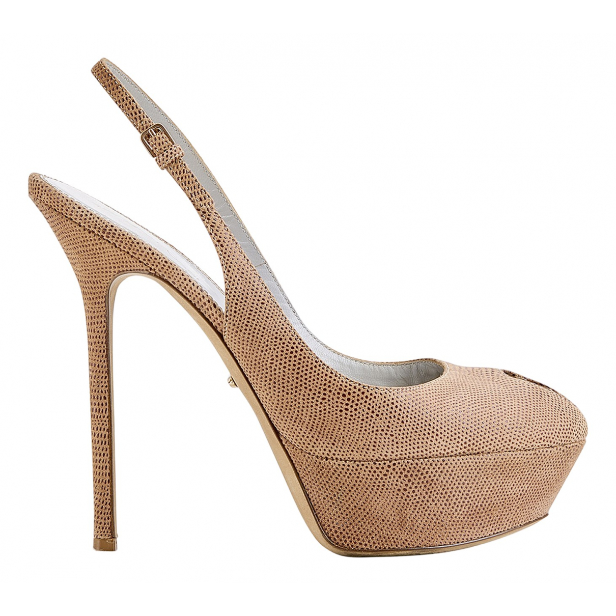 Sergio Rossi N Brown Leather Heels for Women 5 UK