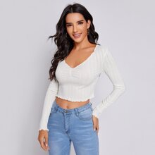 Ruched Front Lettuce Trim Crop Tee