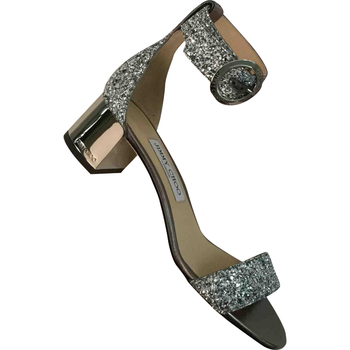 Jimmy Choo \N Silver Glitter Sandals for Women 38.5 EU