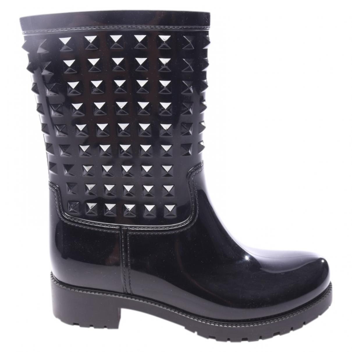Valentino Garavani - Boots   pour femme en cuir verni - noir