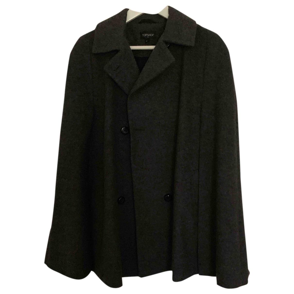 Tophop \N Maentel in  Grau Wolle