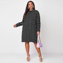 Plus Polka Dot Midi Shirt Dress