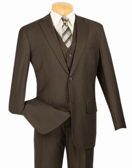 Mens Brown 2 Button with Vest and Classic Pinstripe Suit