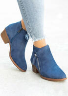 Zipper Round Toe Chunky Heel Ankle Boots - Blue