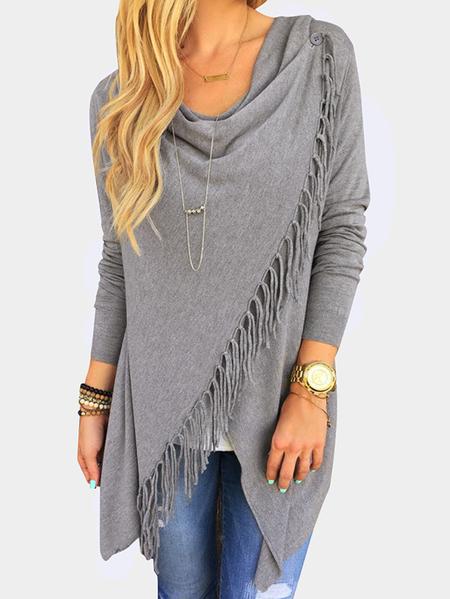 Yoins Grey Wrap Design Drape Sagging Long Sleeves Tee