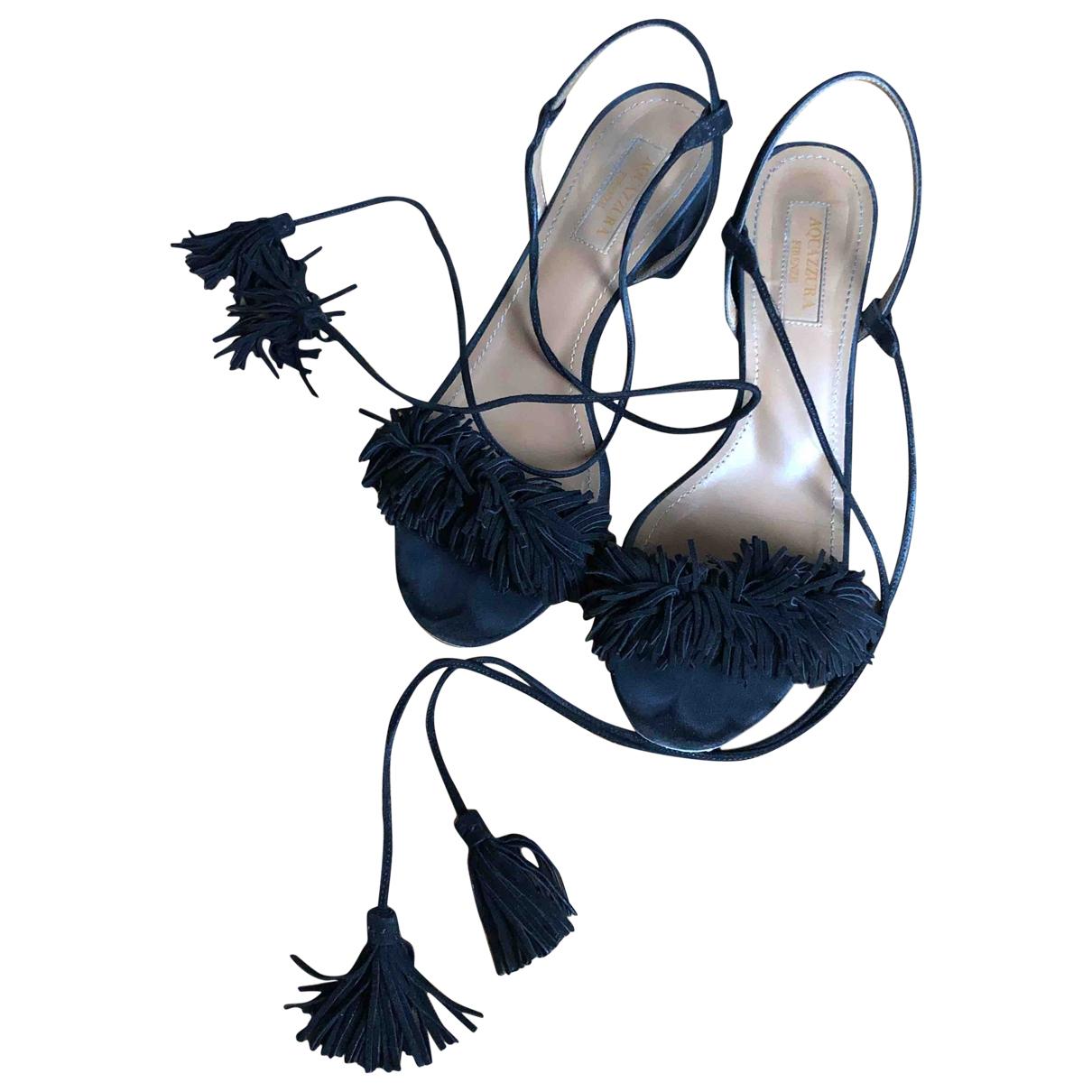 Aquazzura - Sandales Beverly Hills pour femme en suede - noir