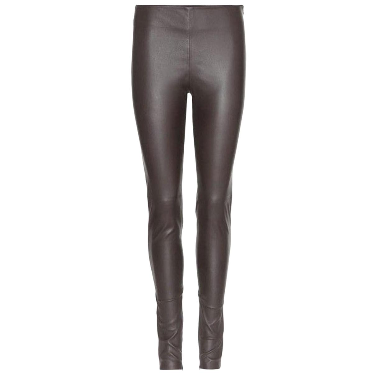 Balenciaga \N Black Leather Trousers for Women 34 FR