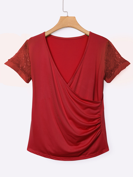 Yoins Red Low Cut V-neck Wrap Front Lace Insert T-shirts
