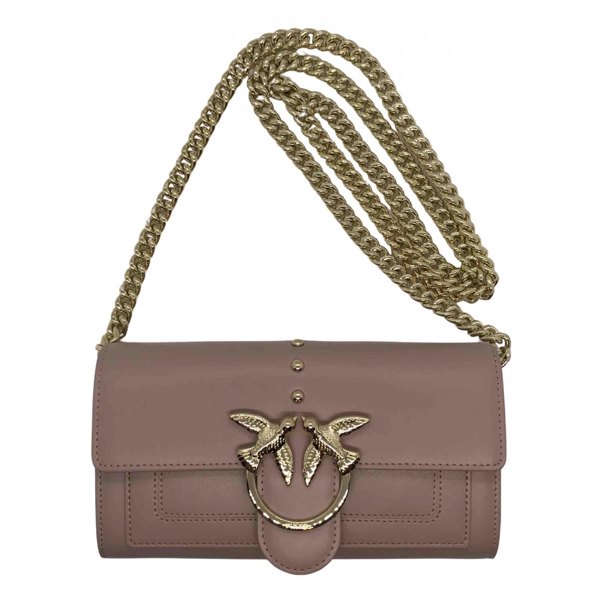 Pinko Love Bag Clutch in  Rosa Leder
