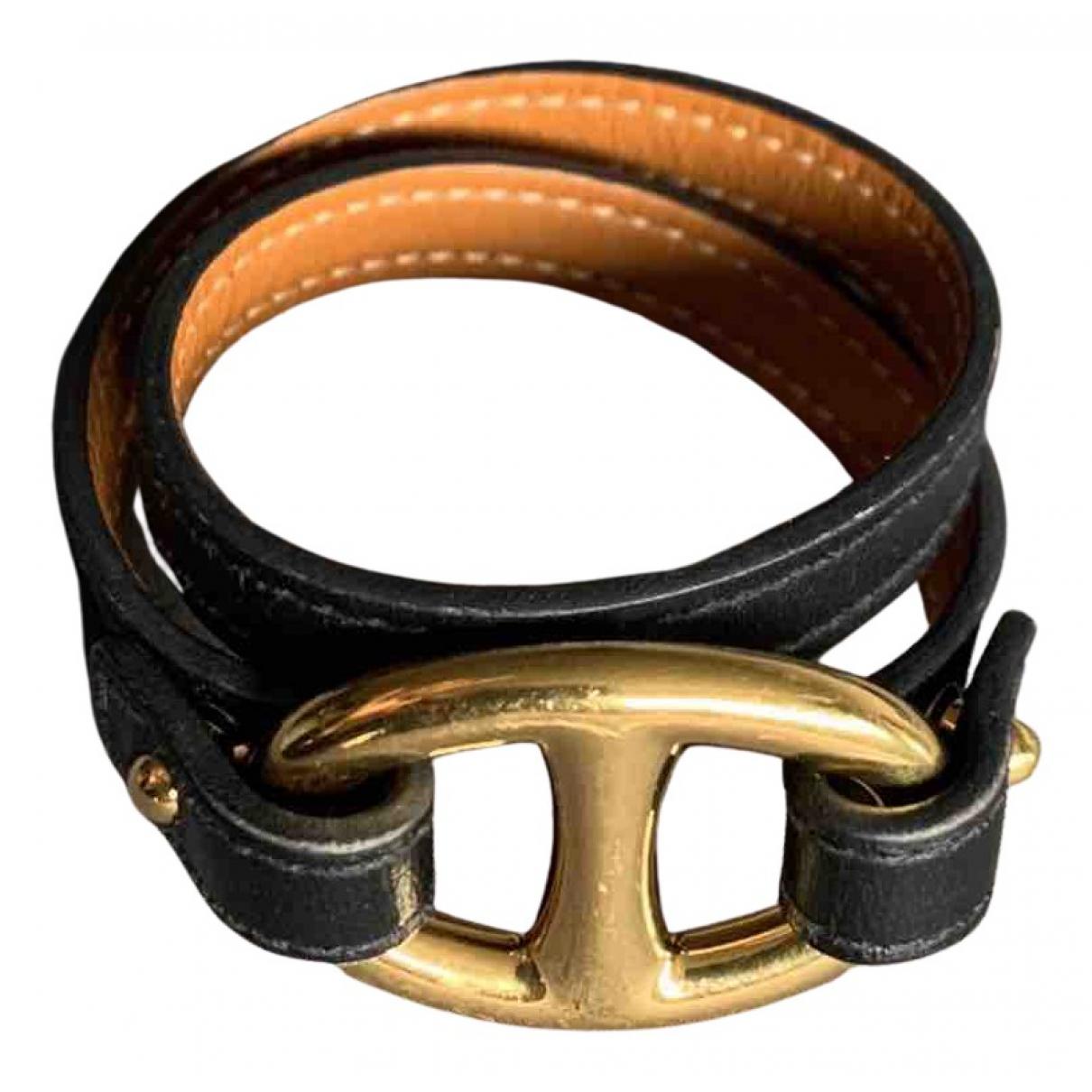 Hermès N Black Leather bracelet for Women N