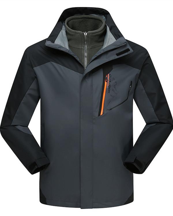 Male Color Block Outdoor 3 in 1 Windproof and Waterproof Fleece Lining Jacket