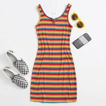 Notched Neckline Rainbow Striped Dress