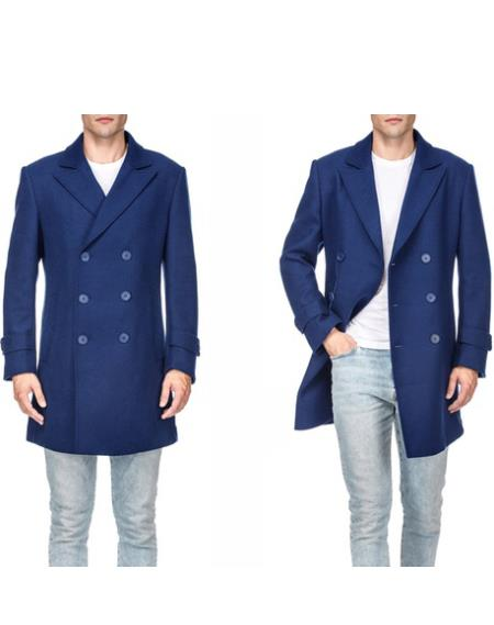 Royal Blue ~ Indigo Mens Wool Blend Coat