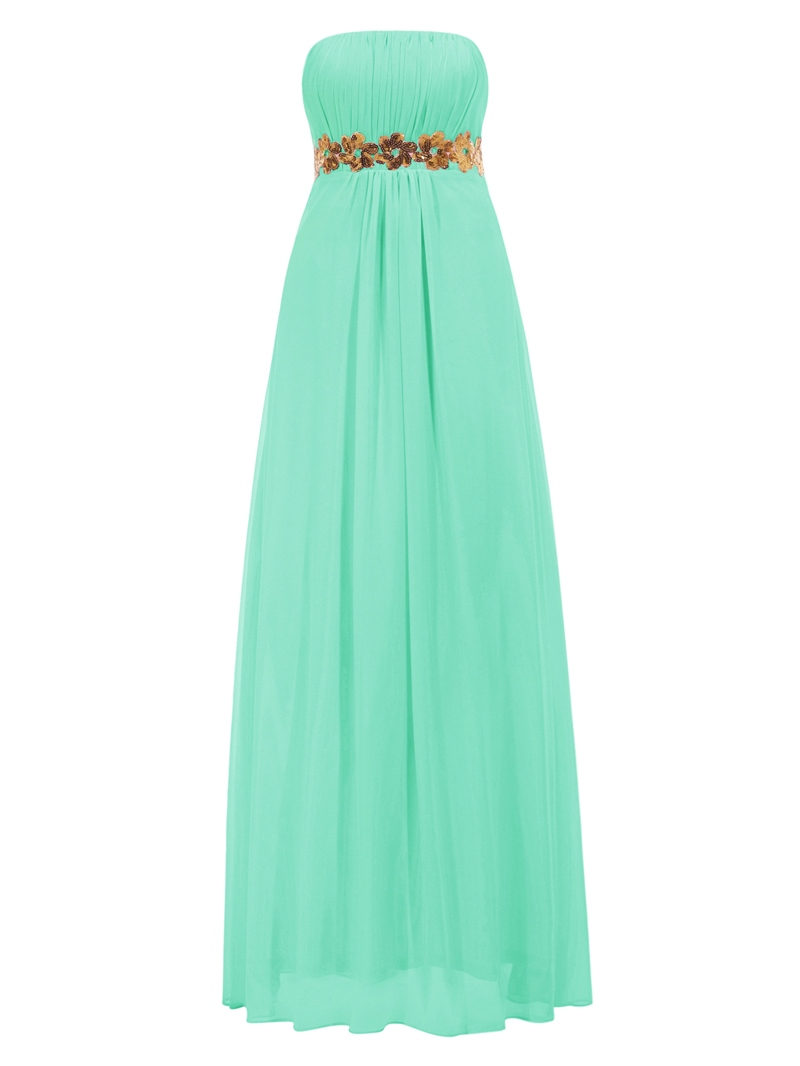 Ericdress A-Line Strapless Draped Sequins Prom Dress