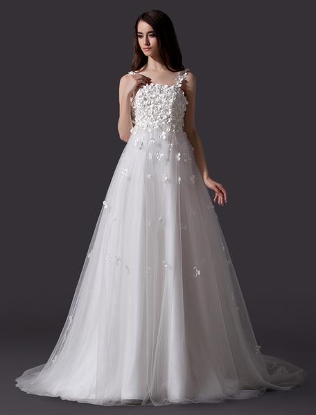Milanoo Ethereal Ivory A-line Spaghetti Strap Flower Brides Wedding Dress